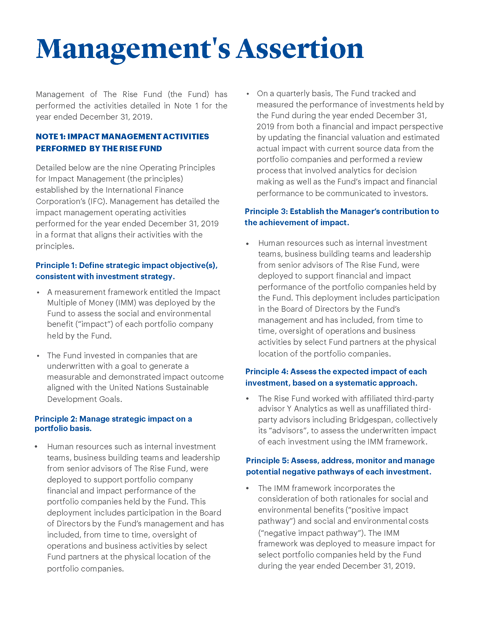 Image of text - full text of Management Assertions related to Operating Principles for Impact Management pasted below