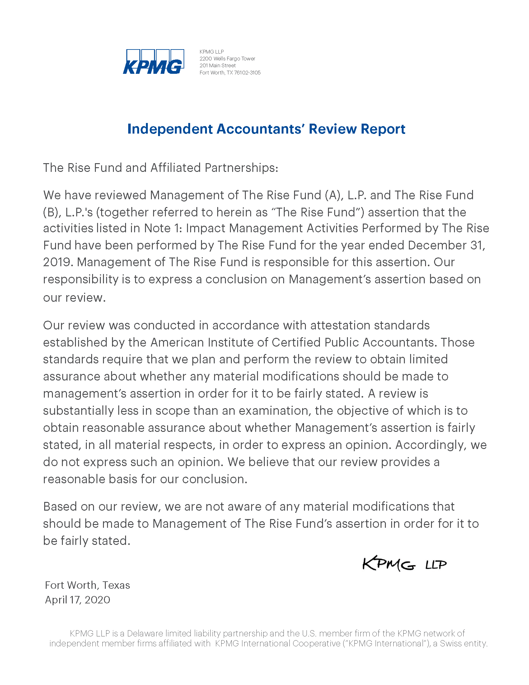 Image of text - full text of KPMG Verification Statement below image